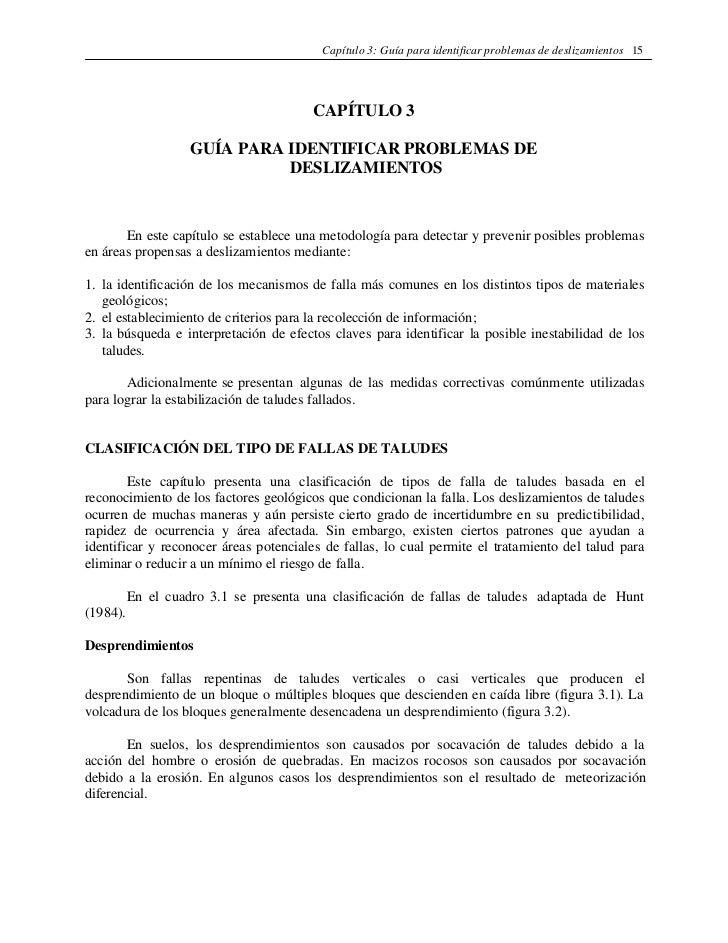 Capítulo 3: Guía para identificar problemas de deslizamientos 15                                        CAPÍTULO 3        ...