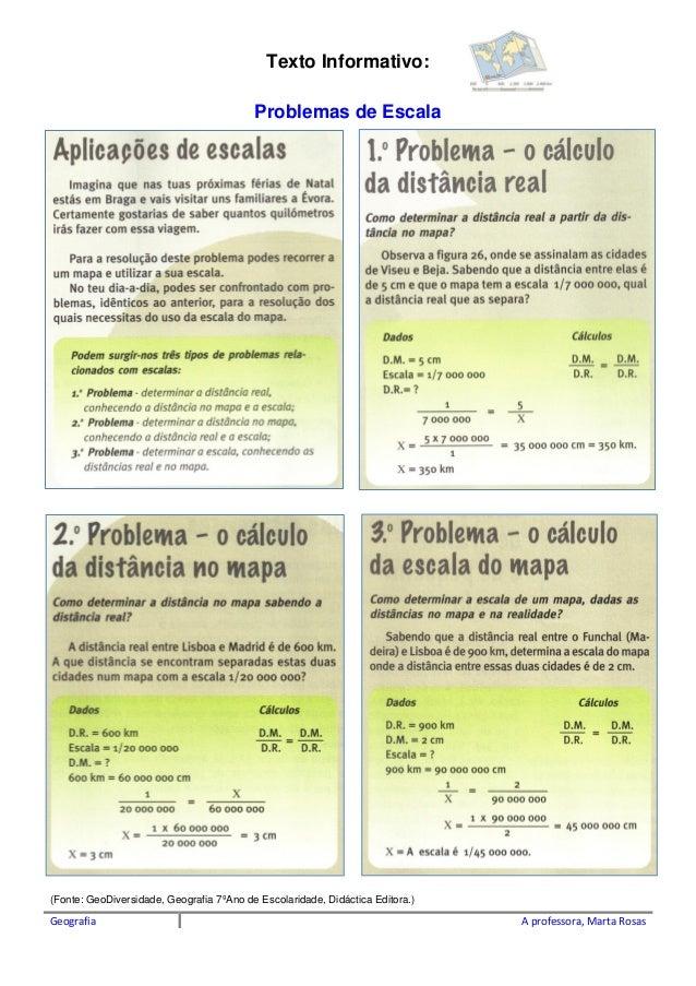 Geografia A professora, Marta Rosas Texto Informativo: Problemas de Escala (Fonte: GeoDiversidade, Geografia 7�Ano de Esco...