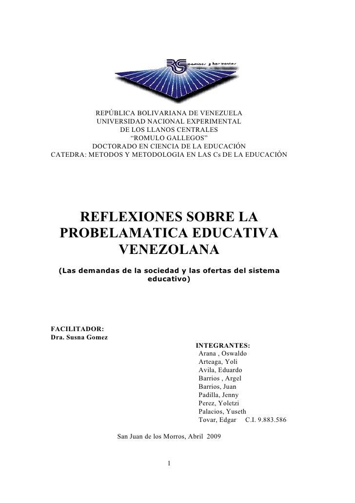 REPÚBLICA BOLIVARIANA DE VENEZUELA            UNIVERSIDAD NACIONAL EXPERIMENTAL                 DE LOS LLANOS CENTRALES   ...