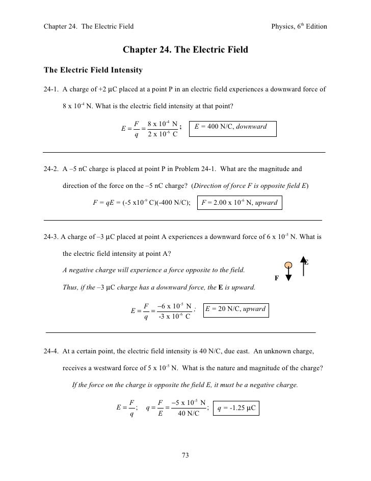 Chapter 24. The Electric Field                                                  Physics, 6th Edition                      ...