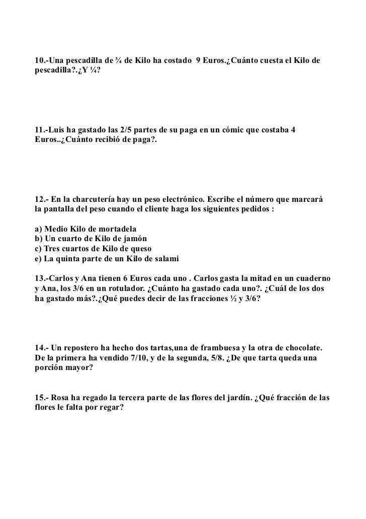 Problemas de matematicas decimales y fracciones 6º de primaria