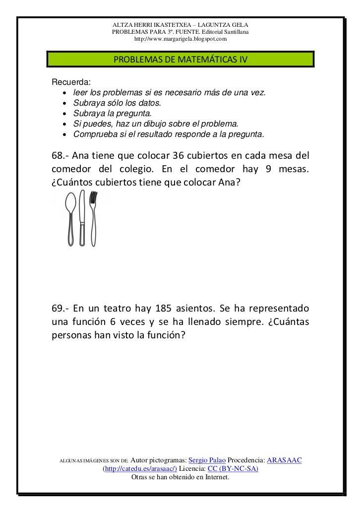 ALTZA HERRI IKASTETXEA – LAGUNTZA GELA                   PROBLEMAS PARA 3º. FUENTE. Editorial Santillana                  ...