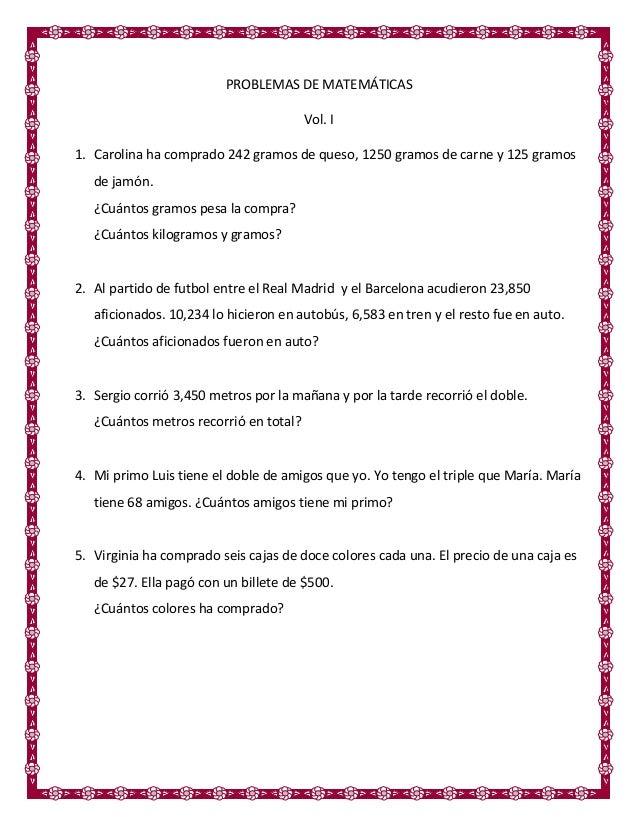 Problemas de matemáticas vol. 1 5 cuarto grado primaria