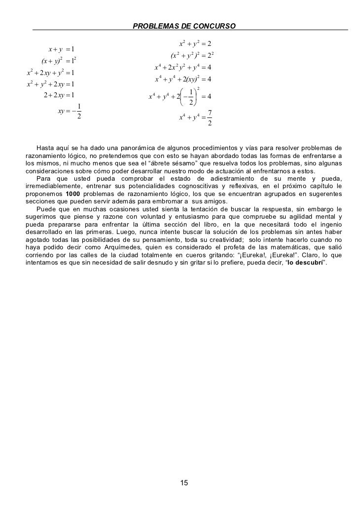 PROBLEMAS DE CONCURSO                                                    x2 + y2 = 2         x + y =1                     ...
