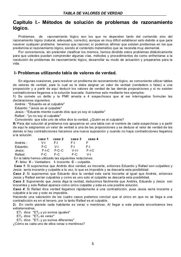 TABLA DE VALORES DE VERDADCapítulo I.- Métodos de solución de problemas de razonamientológico.    Problemas de razonamient...