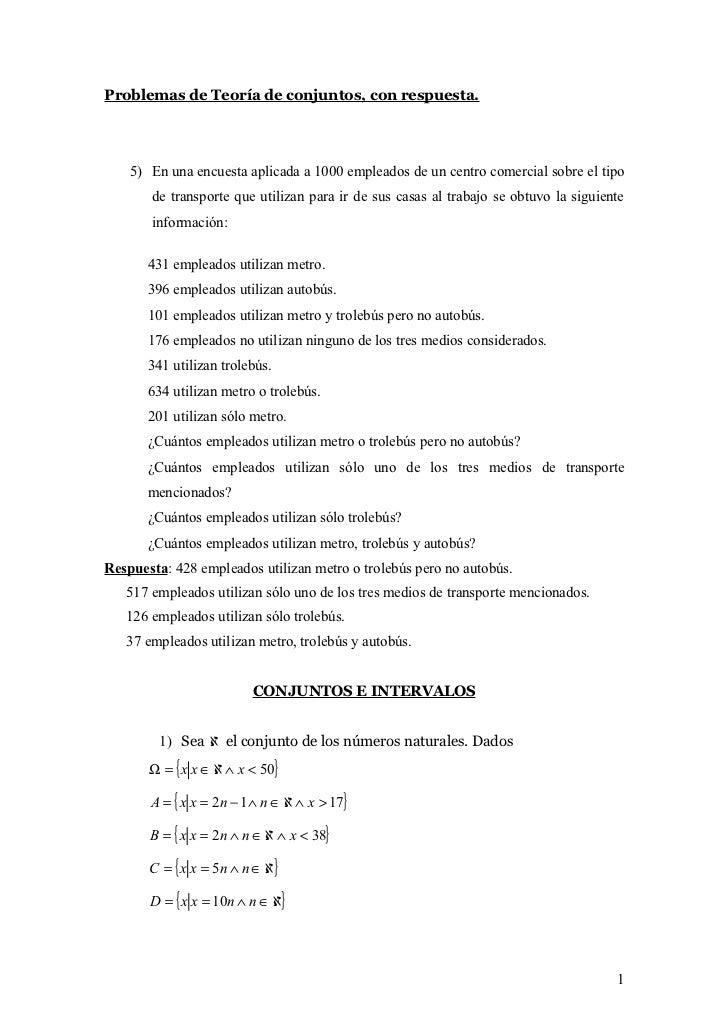 Problemas de teoria de conjuntos resueltos