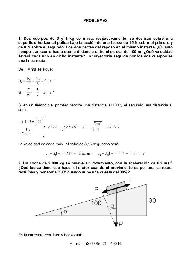 PROBLEMAS 1. Dos cuerpos de 3 y 4 kg de masa, respectivamente, se deslizan sobre una superficie horizontal pulida bajo la ...