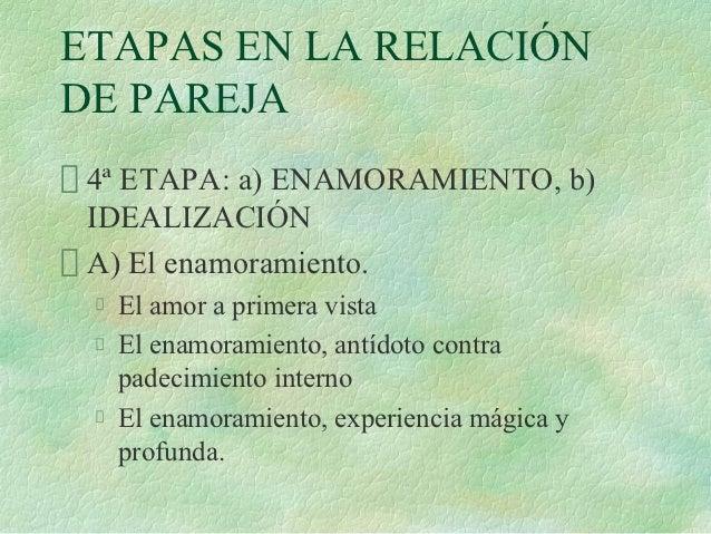 ETAPAS EN LA RELACIÓNDE PAREJA 4ª ETAPA: a) ENAMORAMIENTO, b) IDEALIZACIÓN A) El enamoramiento.  El amor a primera vista  ...