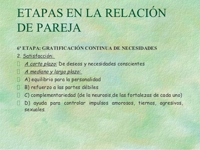 ETAPAS EN LA RELACIÓNDE PAREJA6ª ETAPA: GRATIFICACIÓN CONTINUA DE NECESIDADES2. Satisfacción:   A corto plazo: De deseos y...