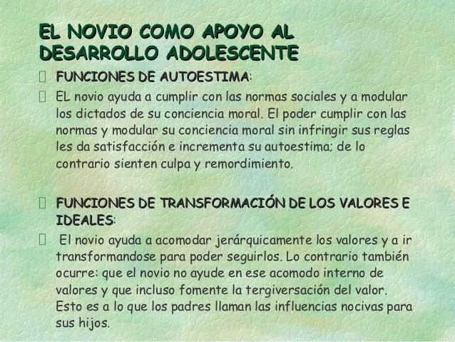 EL NOVIO COMO APOYO ALDESARROLLO ADOLESCENTE FUNCIONES DE AUTOESTIMA:              AUTOESTIMA EL novio ayuda a cumplir con...
