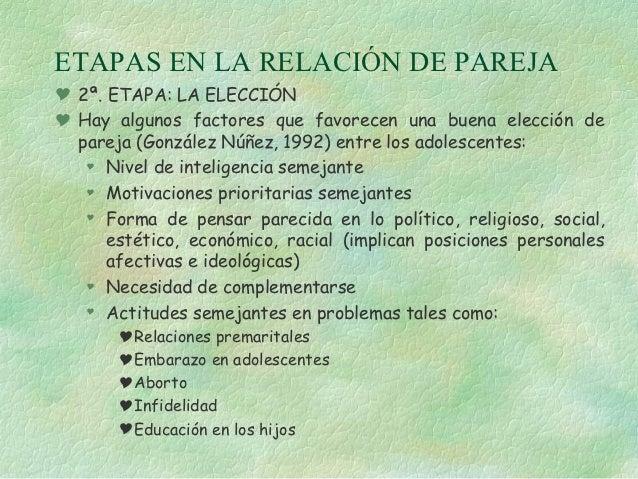 ETAPAS EN LA RELACIÓN DE PAREJA 2ª. ETAPA: LA ELECCIÓN Hay algunos factores que favorecen una buena elección de  pareja ...