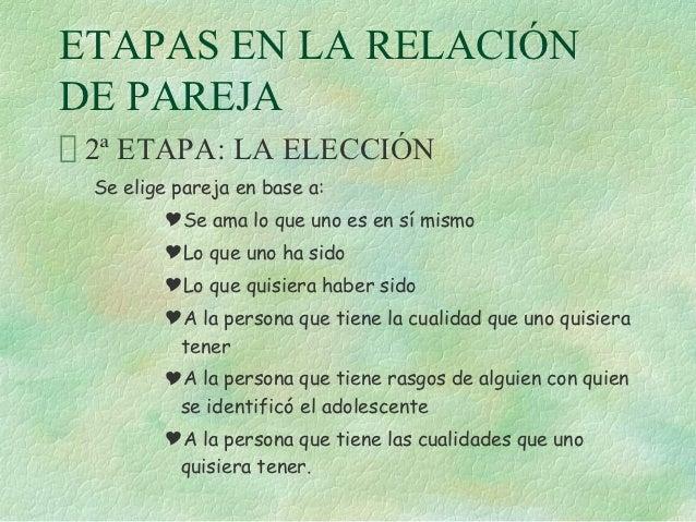ETAPAS EN LA RELACIÓNDE PAREJA 2ª ETAPA: LA ELECCIÓN Se elige pareja en base a:        Se ama lo que uno es en sí mismo  ...