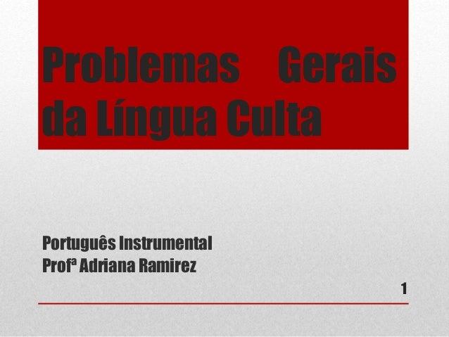 Problemas Gerais  da Língua Culta  1  Português Instrumental  Profª Adriana Ramirez