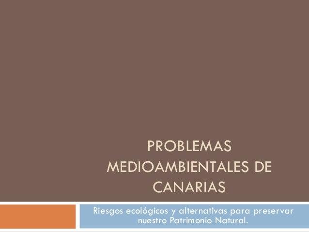 PROBLEMAS   MEDIOAMBIENTALES DE        CANARIASRiesgos ecológicos y alternativas para preservar           nuestro Patrimon...