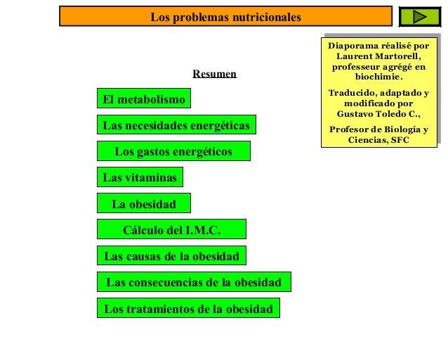 Los problemas nutricionales  Resumen  El metabolismo Las necesidades energéticas Los gastos energéticos Las vitaminas La o...