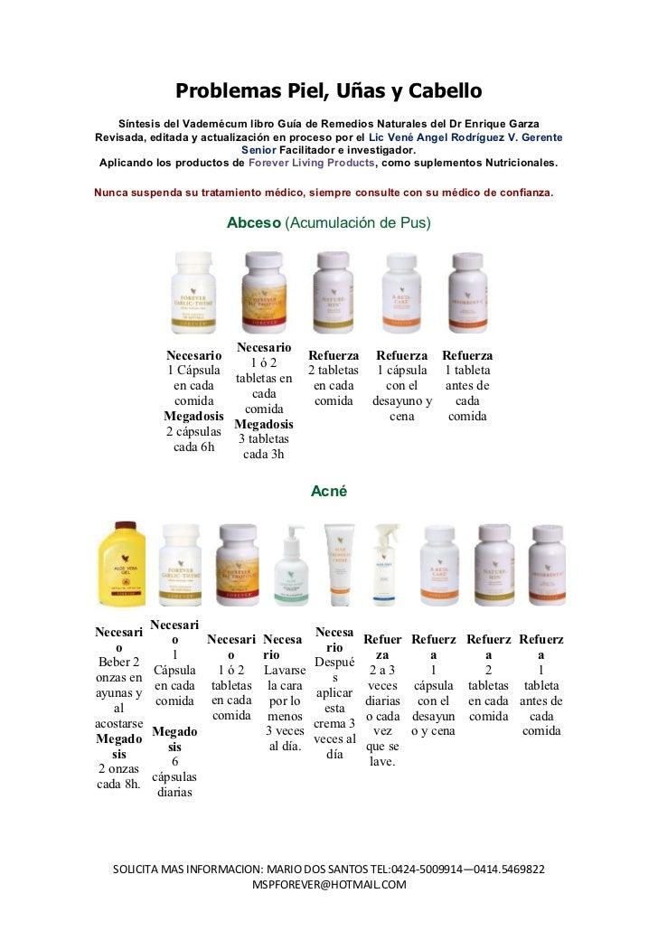 Problemas Piel, Uñas y Cabello    Síntesis del Vademécum libro Guía de Remedios Naturales del Dr Enrique GarzaRevisada, ed...