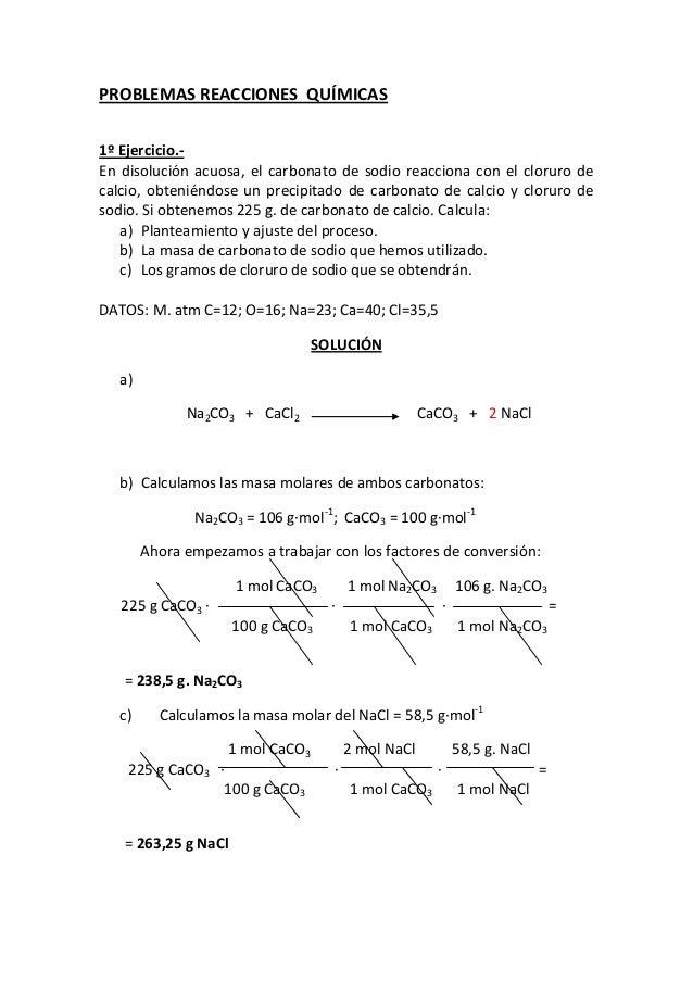 Problemas Reacciones Químicas 2012 13