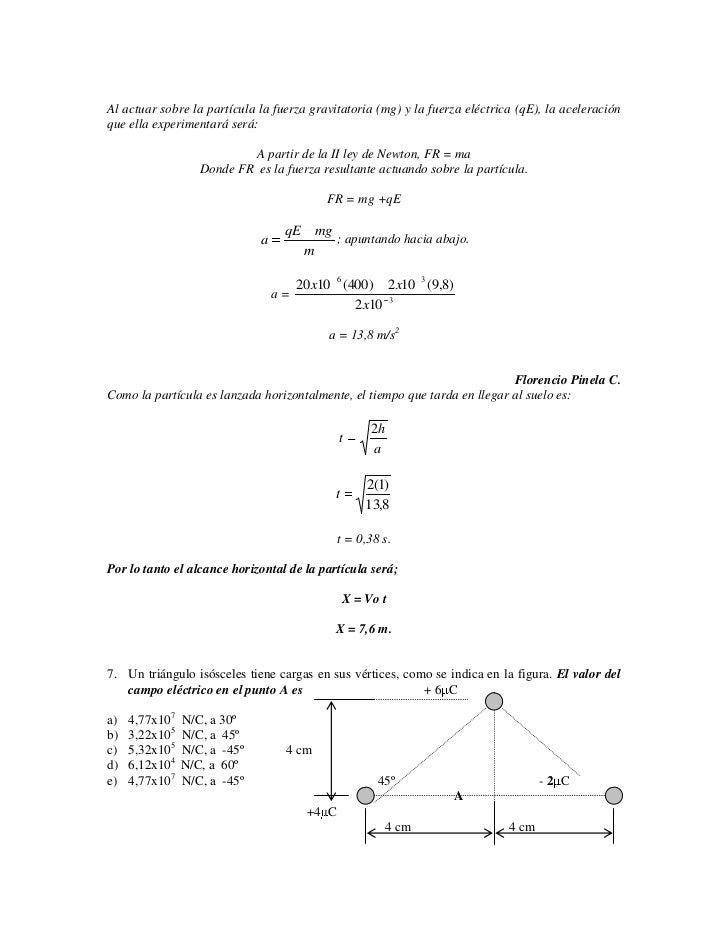 Al actuar sobre la partícula la fuerza gravitatoria (mg) y la fuerza eléctrica (qE), la aceleración que ella experimentará...