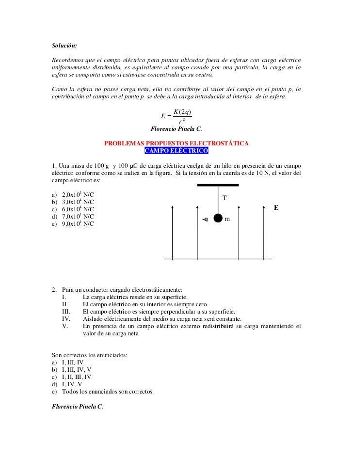 Solución:  Recordemos que el campo eléctrico para puntos ubicados fuera de esferas con carga eléctrica uniformemente distr...