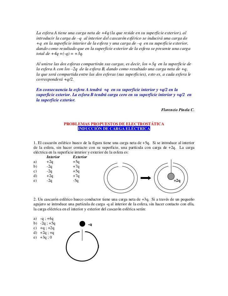 La esfera A tiene una carga neta de +4q (la que reside en su superficie exterior), al  introducir la carga de –q al interi...