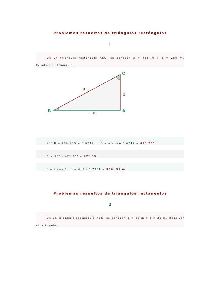 Problemas resueltos de triángulos rectángulos                                                   1         De   un   triáng...