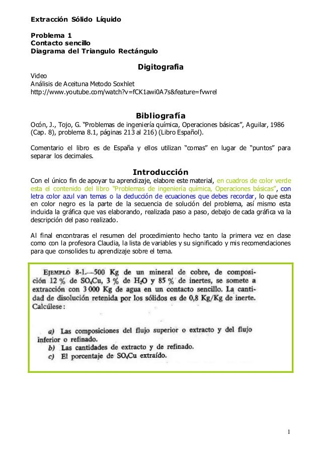 1 Extracción Sólido Líquido Problema 1 Contacto sencillo Diagrama del Triangulo Rectángulo Digitografia Video Análisis de ...