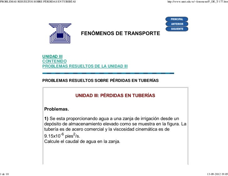 PROBLEMAS RESUELTOS SOBRE PÉRDIDAS EN TUBERÍAS                            http://www.unet.edu.ve/~fenomeno/F_DE_T-177.htm ...