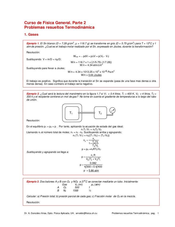 Curso de Física General. Parte 2Problemas resueltos Termodinámica1. Gases                                                3...