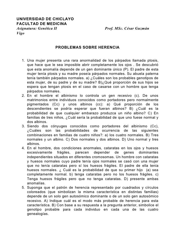 UNIVERSIDAD DE CHICLAYO FACULTAD DE MEDICINA Asignatura: Genética II                            Prof. MSc. César Guzmán Vi...