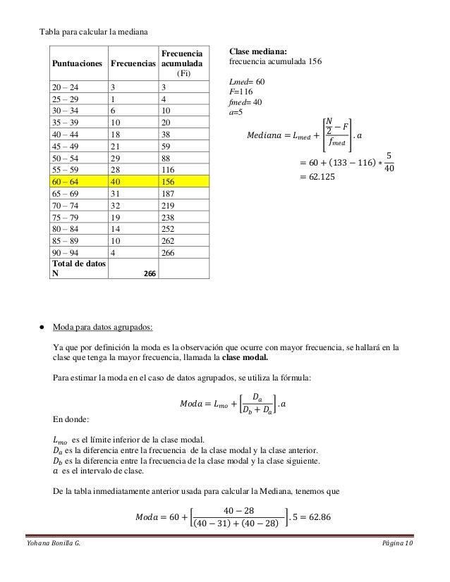 Tabla para calcular la mediana                                 Frecuencia                 Clase mediana:        Puntuacion...