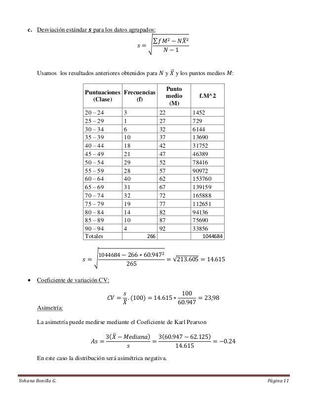 Problemas solucionados de estadística descriptiva