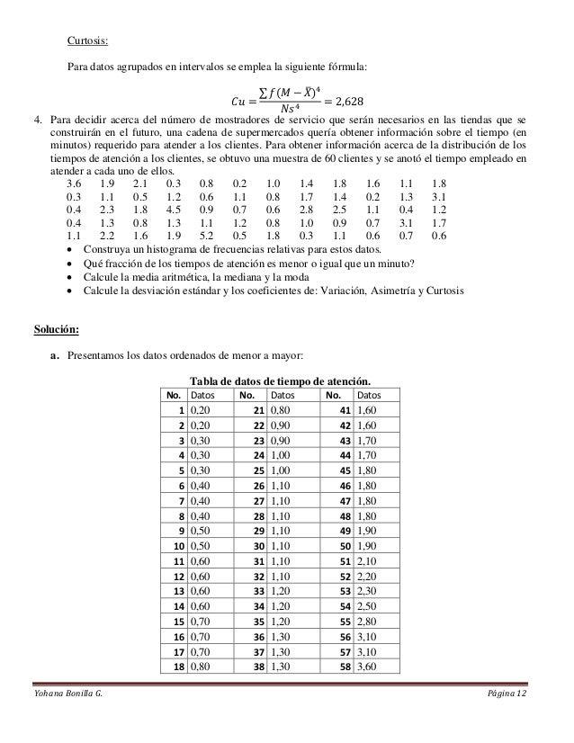Curtosis:        Para datos agrupados en intervalos se emplea la siguiente fórmula:4. Para decidir acerca del número de mo...