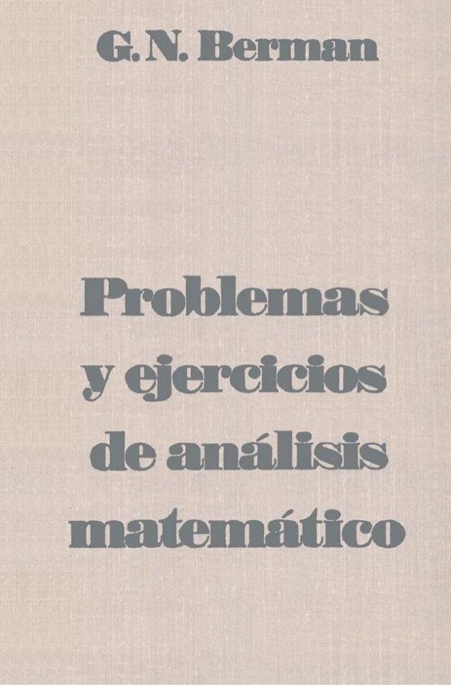 Problemas y ejercicios de analisis matematico (g. n. berman) [mir, 1977]