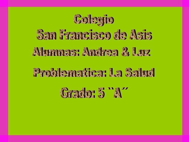 Colegio San Francisco de Asis Alumnas: Andrea & Luz Problematica: La Salud Grado: 5 ``A´´