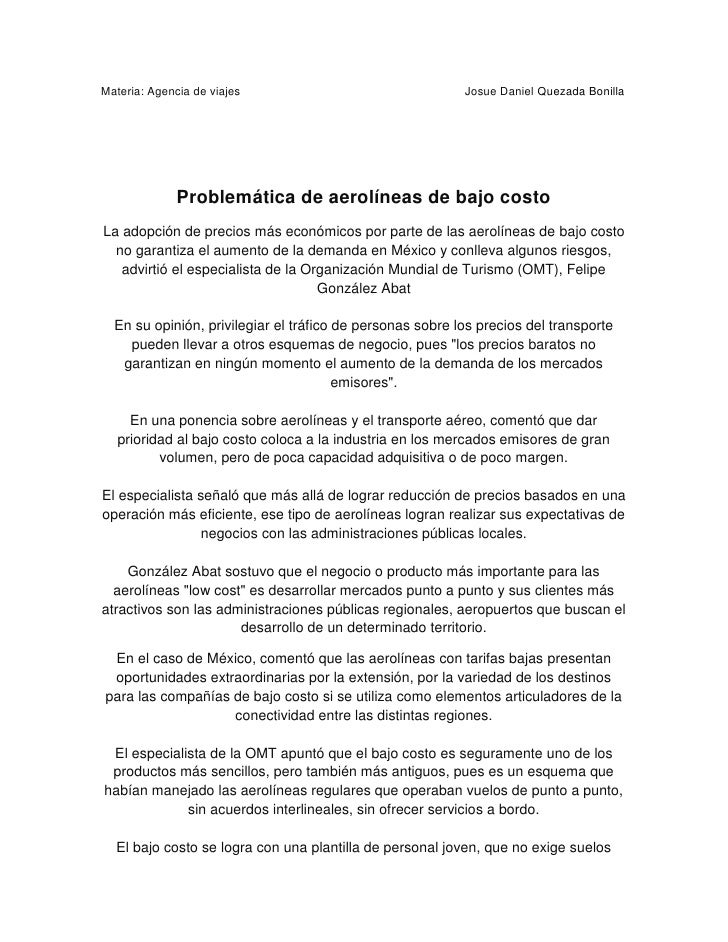 Materia: Agencia de viajes                                 Josue Daniel Quezada Bonilla              Problemática de aerol...