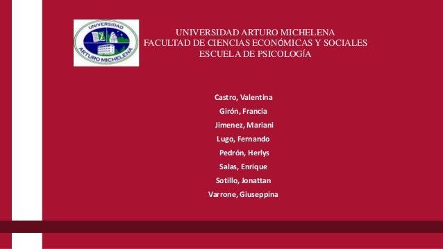 UNIVERSIDAD ARTURO MICHELENA FACULTAD DE CIENCIAS ECONÓMICAS Y SOCIALES ESCUELA DE PSICOLOGÍA Castro, Valentina Girón, Fra...