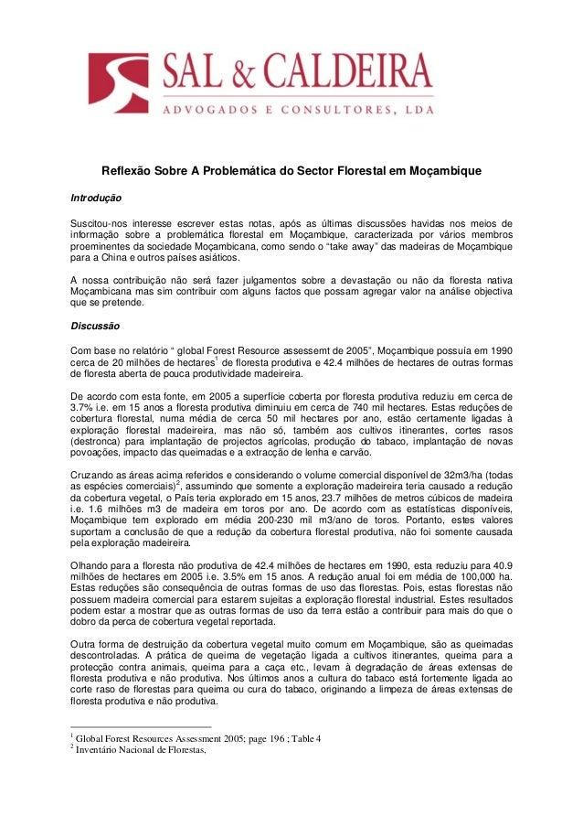 Reflexão Sobre A Problemática do Sector Florestal em MoçambiqueIntroduçãoSuscitou-nos interesse escrever estas notas, após...
