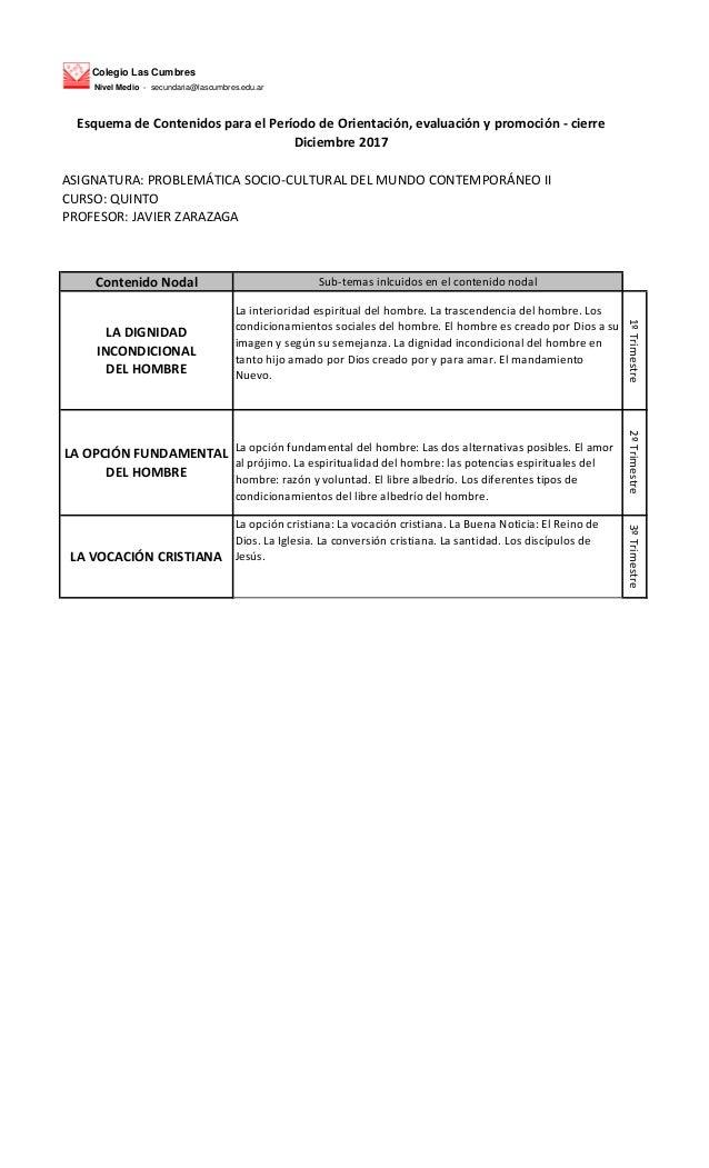 Colegio Las Cumbres Nivel Medio - secundaria@lascumbres.edu.ar ASIGNATURA: PROBLEM�TICA SOCIO-CULTURAL DEL MUNDO CONTEMPOR...