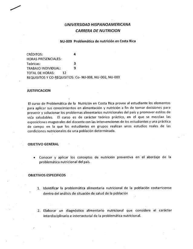 UNIVERSIDAD HISPANOAMERICANA                                CARRERA DE NUTRICION                     NU-009 Problemática d...
