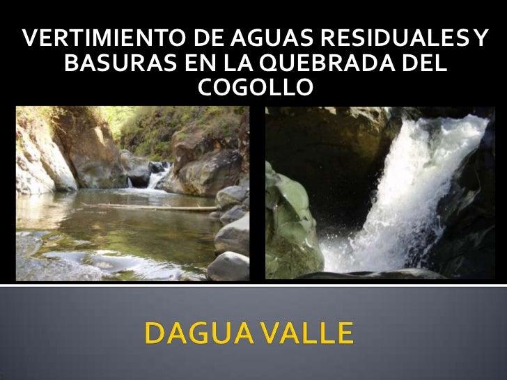 VERTIMIENTO DE AGUAS RESIDUALES Y BASURAS EN LA QUEBRADA DEL COGOLLO<br />DAGUA VALLE<br />