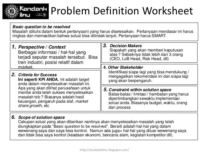 Problem Definition Worksheet By Yangki Imade Suara