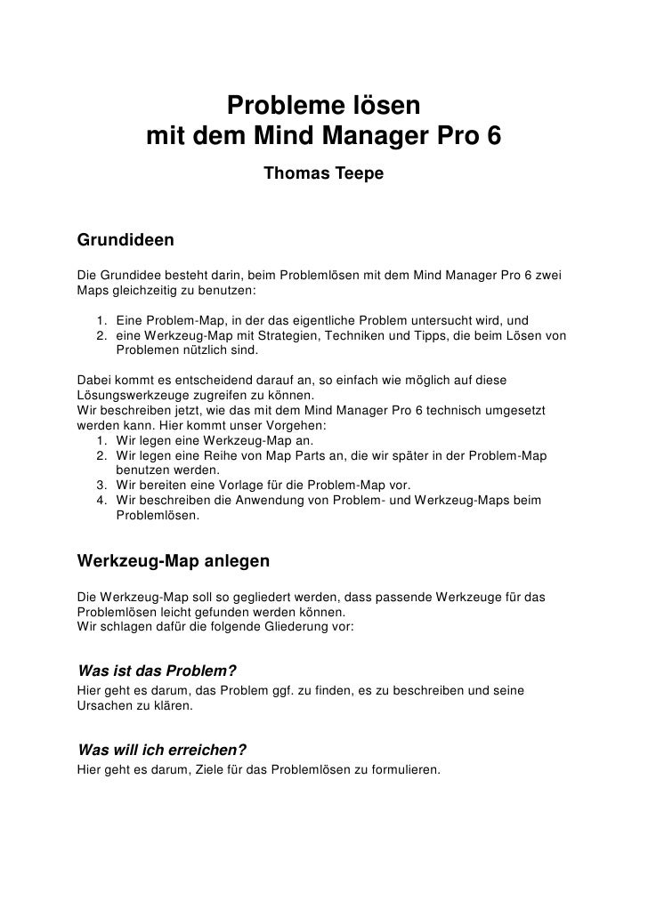 Probleme lösen            mit dem Mind Manager Pro 6                                Thomas Teepe   Grundideen Die Grundide...