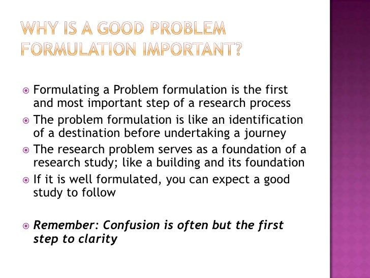 importance of formulating a research problem