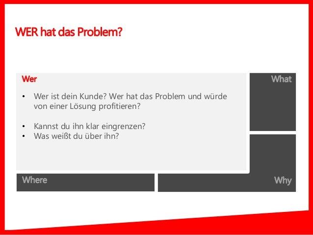 Who What Where Why WER hat das Problem? Wer • Wer ist dein Kunde? Wer hat das Problem und würde von einer Lösung profitier...