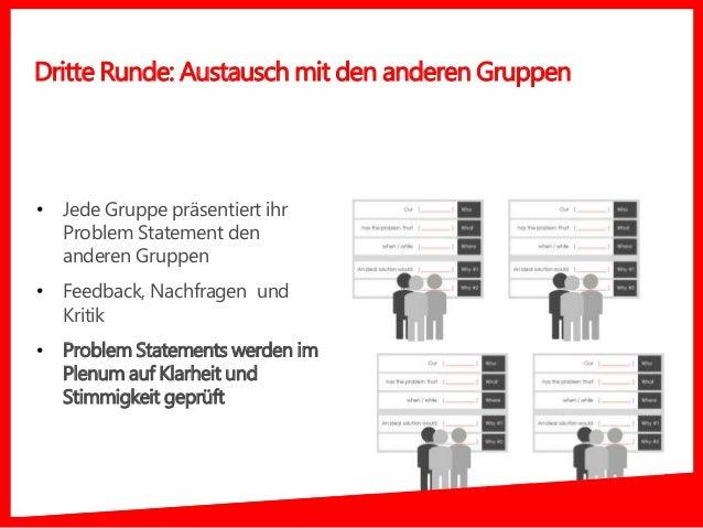 • Jede Gruppe präsentiert ihr Problem Statement den anderen Gruppen • Feedback, Nachfragen und Kritik • Problem Statements...