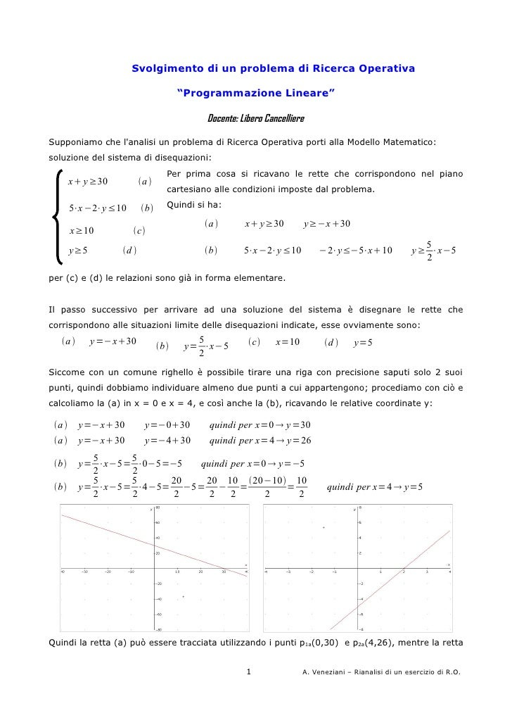 """Svolgimento di un problema di Ricerca Operativa                                       """"Programmazione Lineare""""            ..."""