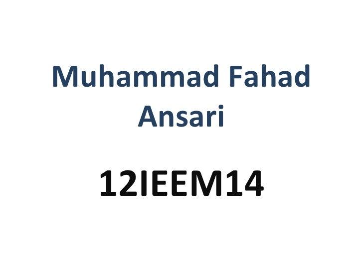 Muhammad Fahad    Ansari  12IEEM14