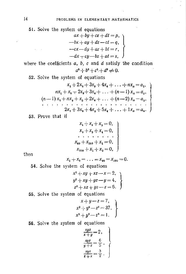 PROBLEMS. ALGEBRA 70. Let (x, y, z) be a solution of the system of equations x+y+z=a, } x2+y2 +Z2 = b2, .!.-+..!..+..!..=....