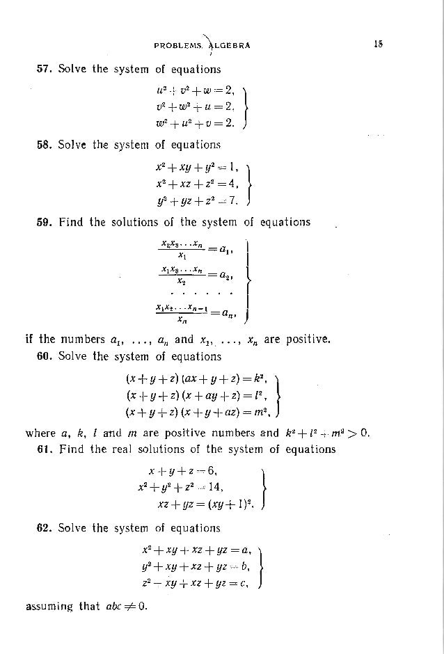 18 PROBLEMS IN ELEMENTARY MATHEMATICS , 76. Show that jf a, b, c and d are pairwise unequal real: num bers and x, y, z is ...