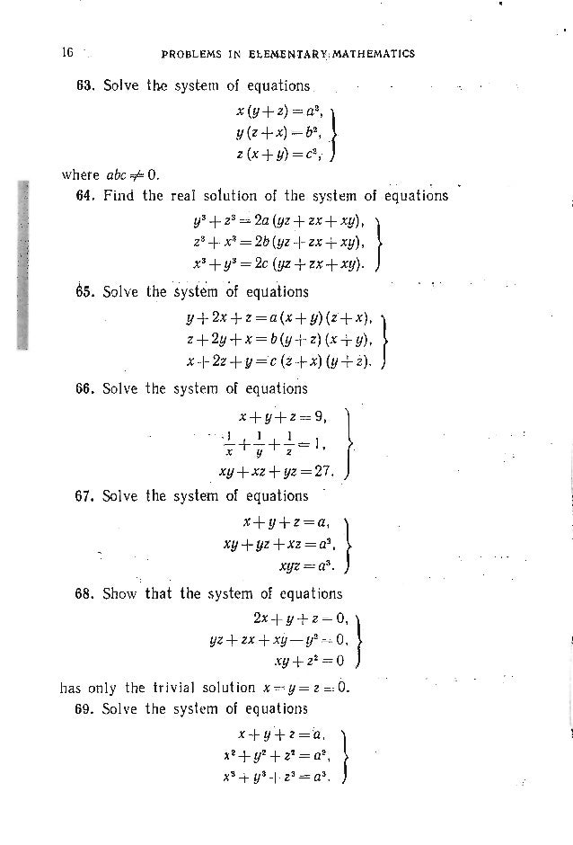 PROBLEMS. ALGEBRA 85. Solve the system of equations x-Y= ~ (V x2y- Vxy2) , } V- V-x- y = 3. 86. Solve the system of equati...